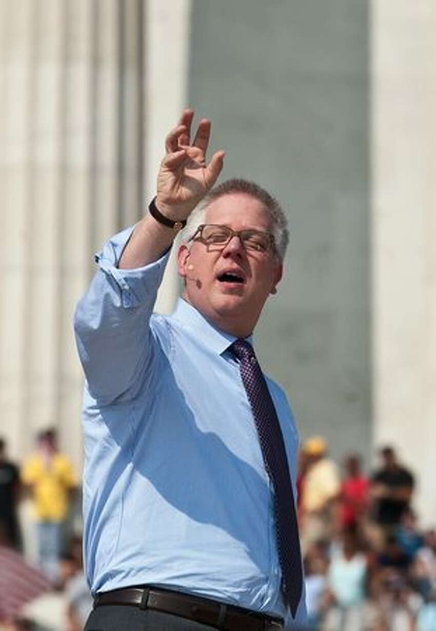 Conservative US radio and television commentator Glenn Beck speaks at a rally dubbed