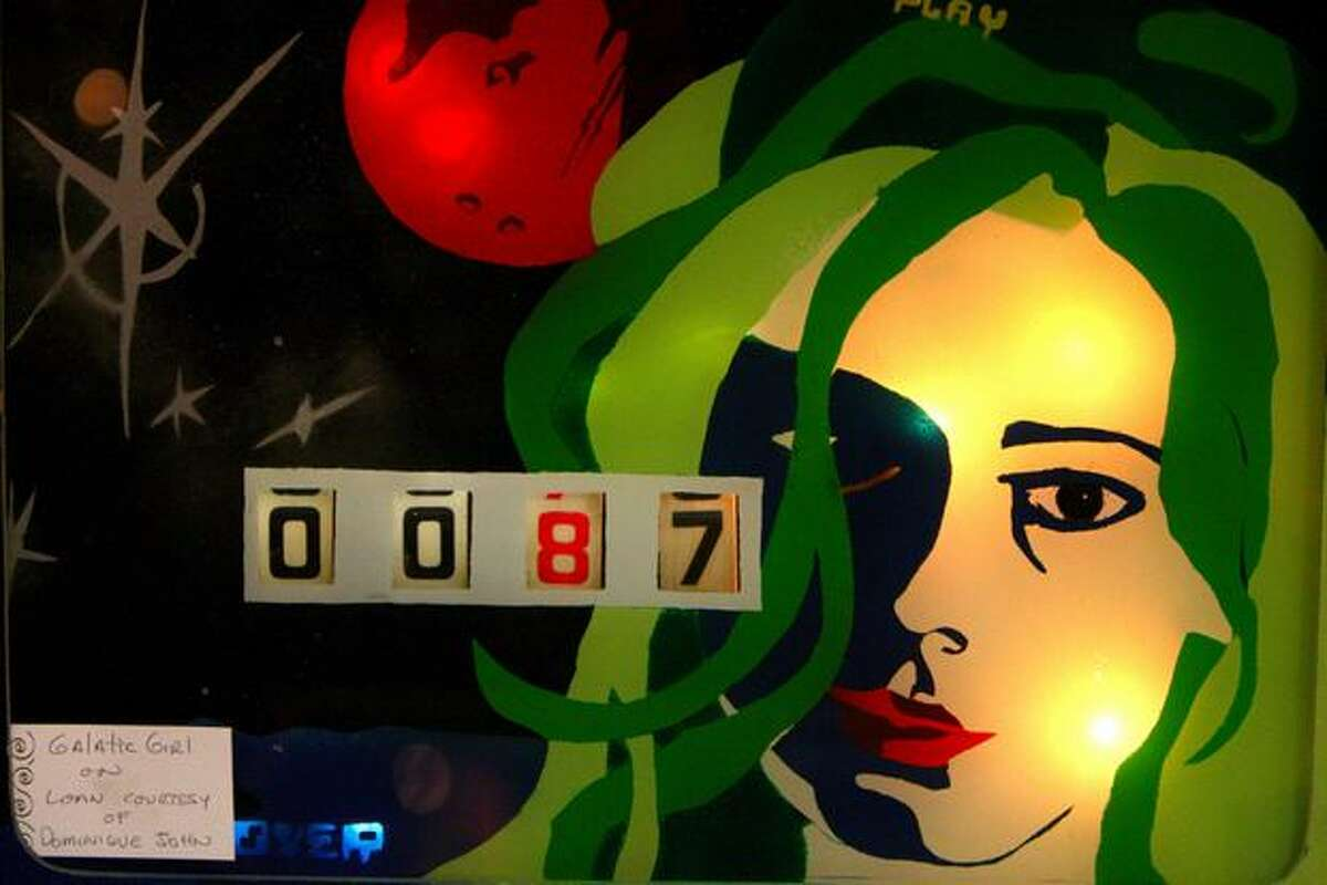 The score is shown on the pinball machine Galactic Girl at the Seattle Pinball Museum in Seattle's International District.