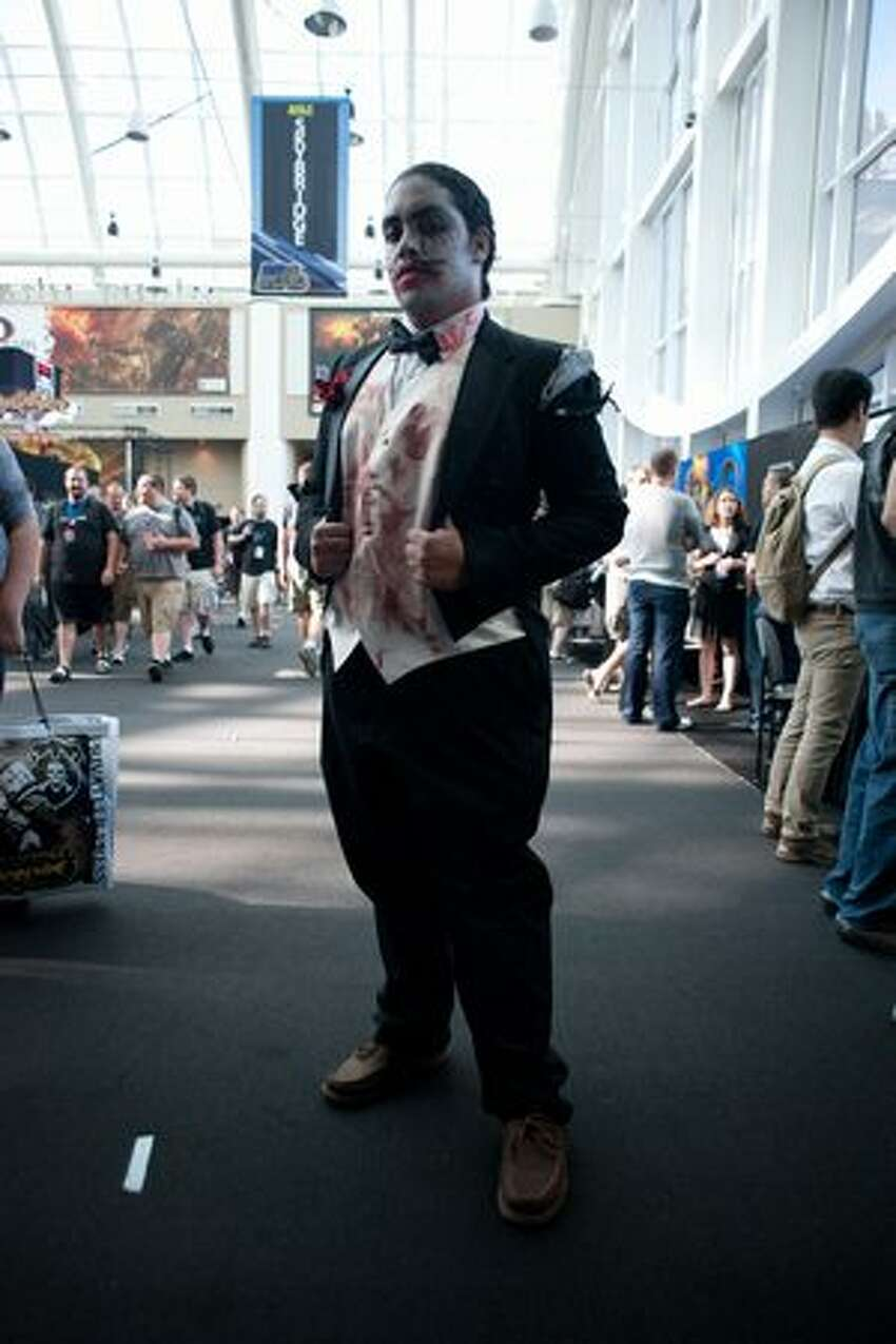 Anthony Reyes is outfitted in formal zombie garb at PAX.