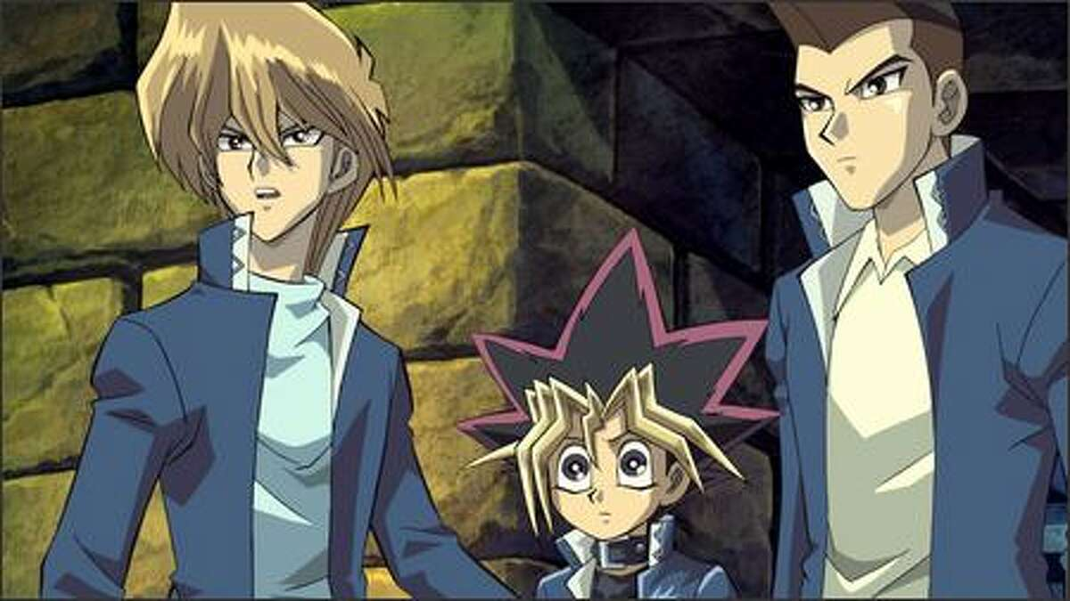 """Joey, Yugi and Tristan in 4Kids Entertainment's animated adventure """"Yu-Gi-Oh! The Movie."""" Based on the comic book, trading card and television series phenomenon, """"Yu-Gi-Oh! The Movie"""" is the story of Yugi, a boy captivated by a card game sweeping the nation."""