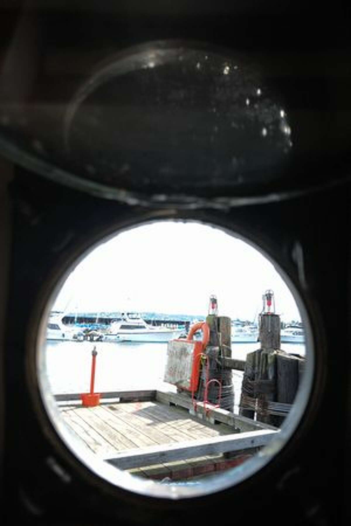 A view of the dock through a hatch.
