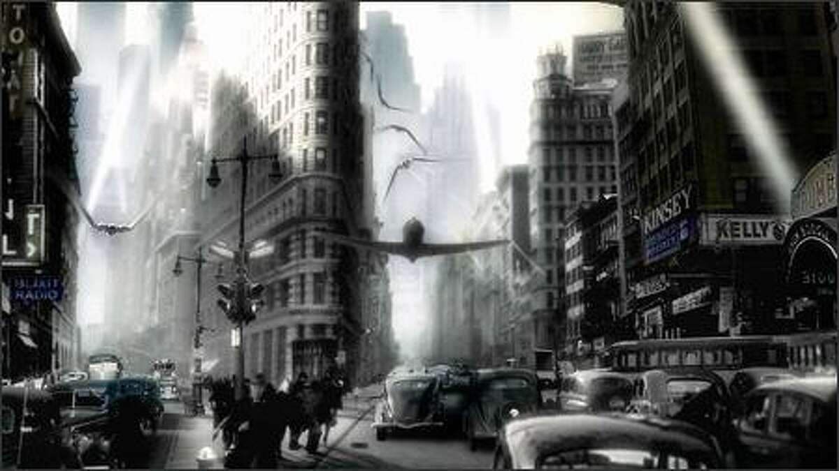 Sky Captain battles Dr. Totenkopf's forces over the streets of Gotham City.