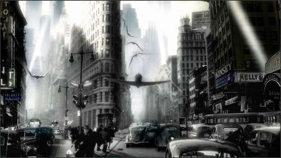 Sky Captain battles Dr. Totenkopf's forces over the streets of Gotham City. Photo: Paramount Pictures