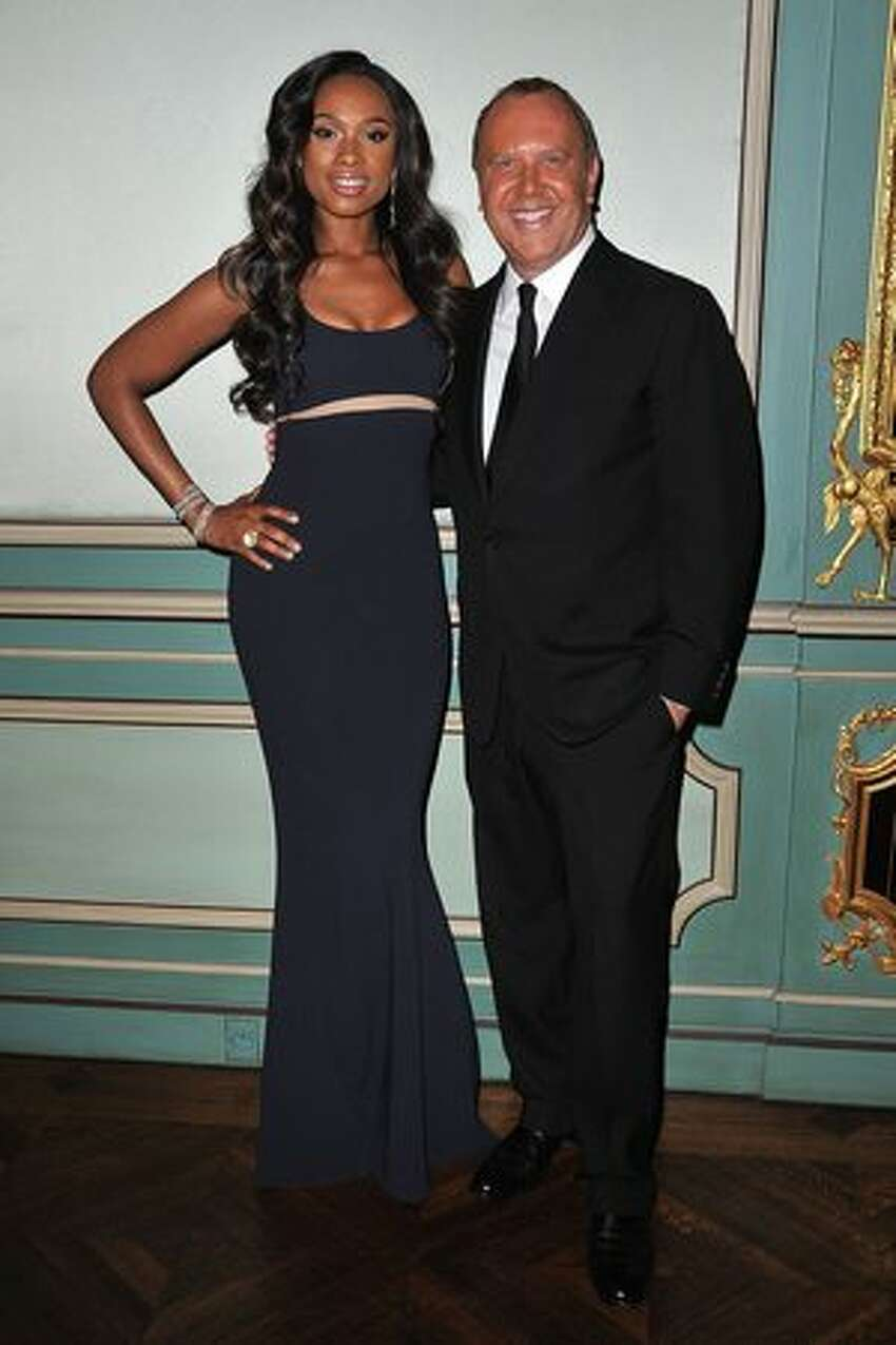 Jennifer Hudson and Michael Kors attend a cocktail and dinner hosted in honor of designer Michael Kors during Paris Fashion Week Fall/Winter 2012 at the Embassy Of The United States in Paris, France.