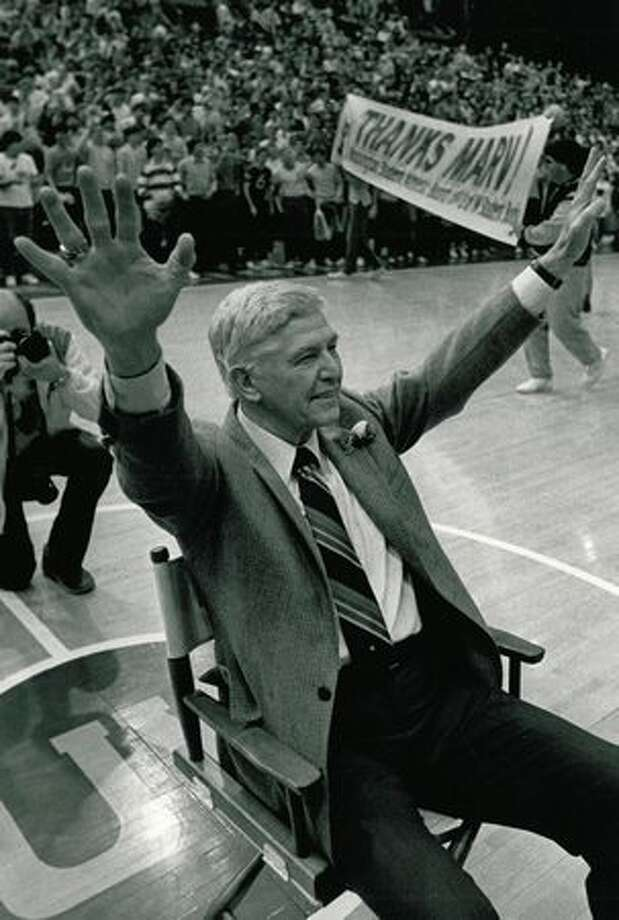 Coach Harshman in 1985, at his last UW home game after 14 years. Photo: P-I File