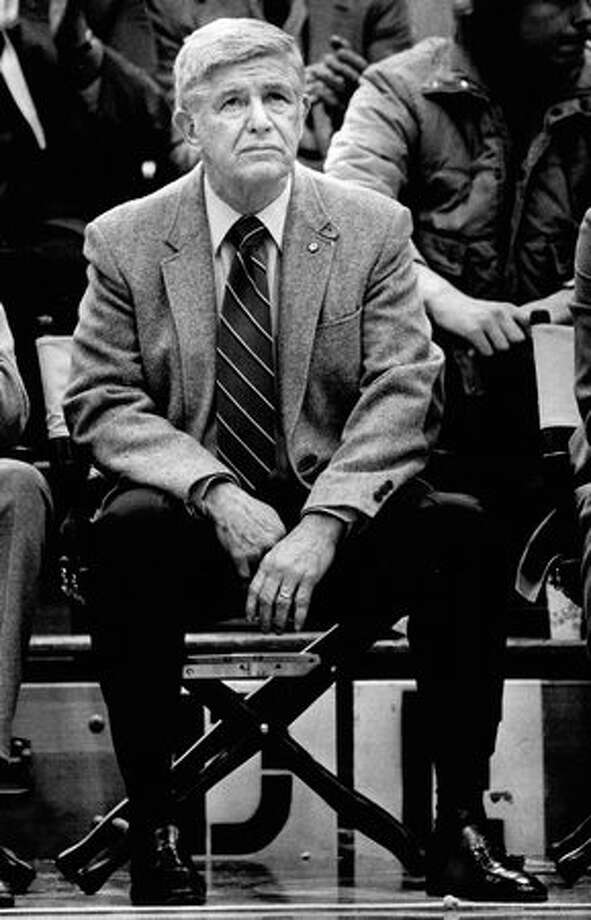 Coach Marv Harshman at a Husky basketball game, December 1983. Photo: P-I File