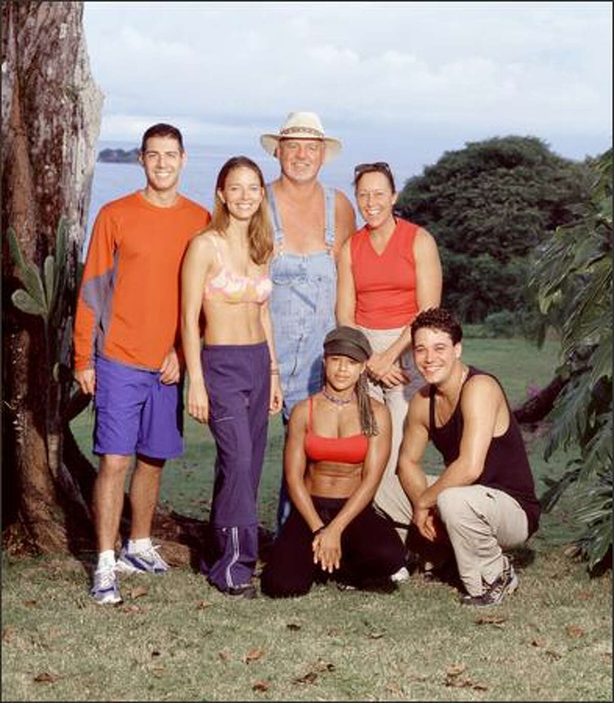 Members of the Chapera tribe, from left, Rob Cesternino, Amber Brkich, Tom Buchanan, Alicia Calaway, Sue Hawk and Rob Mariano, participating in SURVIVOR: ALL STARS, set to premiere on CBS after the Super Bowl on Feb. 1.