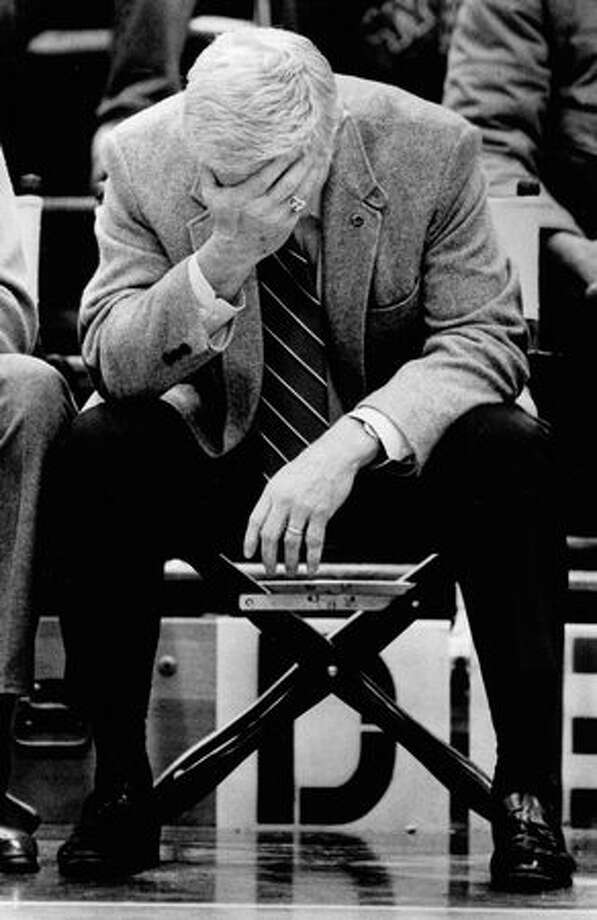 Marv Harshman during a December 1983 Husky game. Photo: P-I File