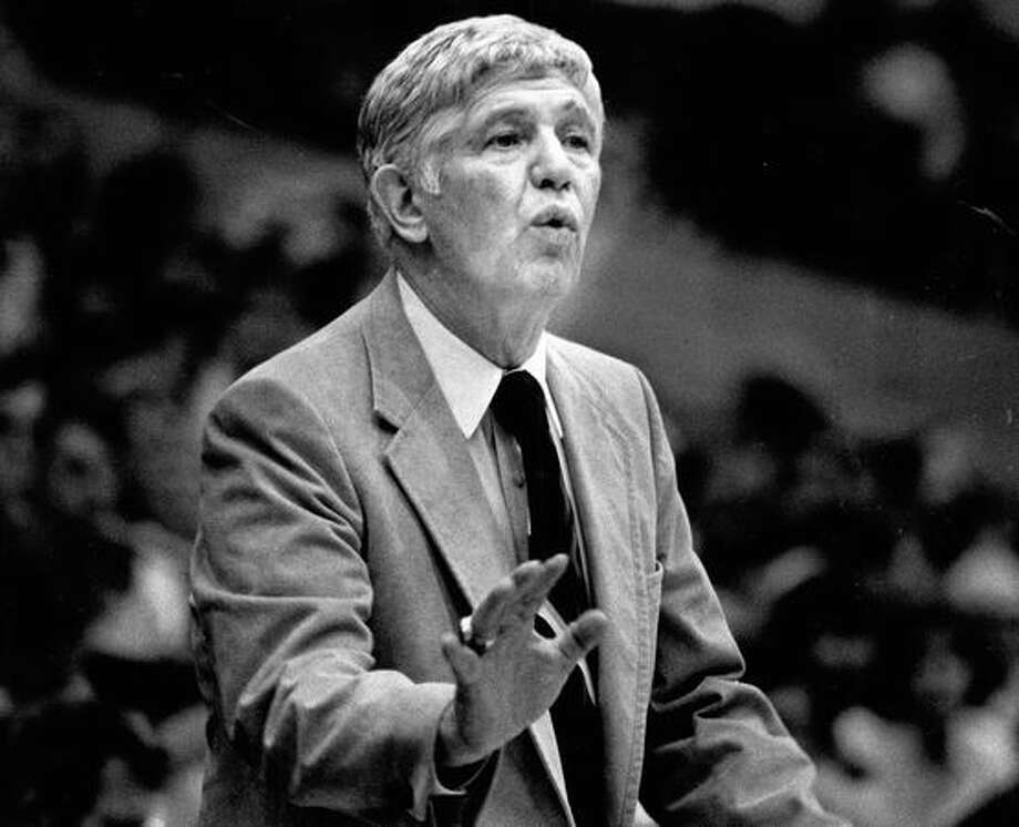 Marv Harshman, the Husky's coach, reacts to a UW basketball game. January 1981. Photo: P-I File