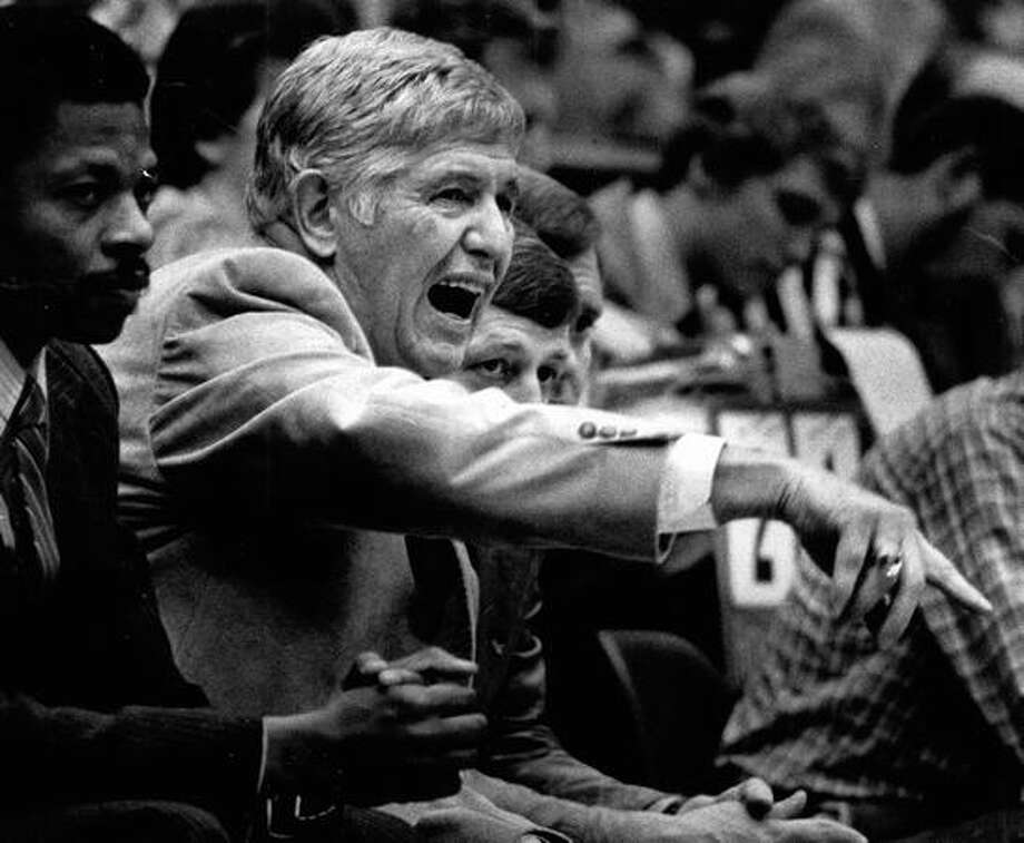 Husky coach Marv Harshman reacts to a tense game. January 1981. Photo: P-I File