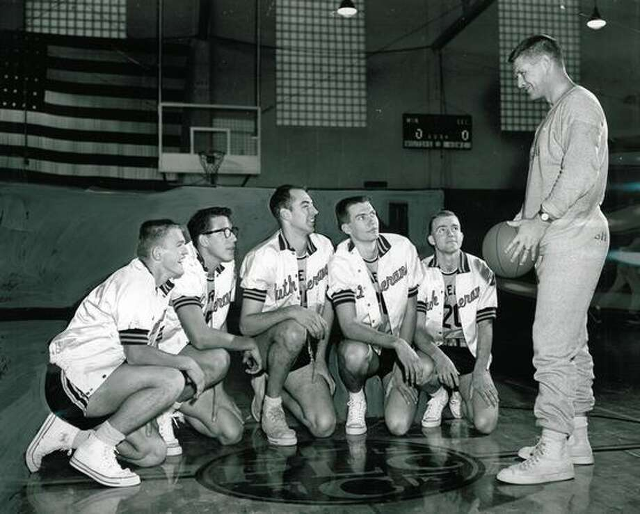 Marv Harshman, right, as coach of the Pacific Lutheran College basketball team, Feb. 26, 1957. Photo: P-I File