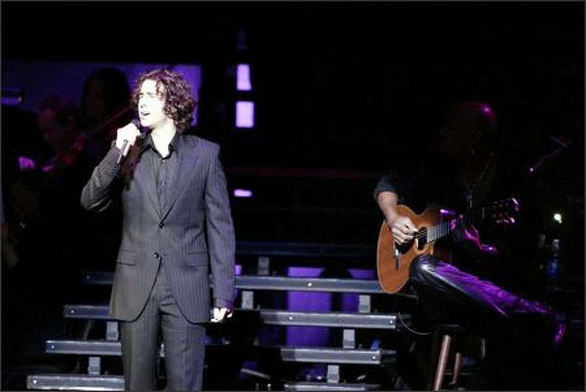 Josh Groban was backed by a five-piece band and a 16-person orchestra at the Paramount on Saturday night.