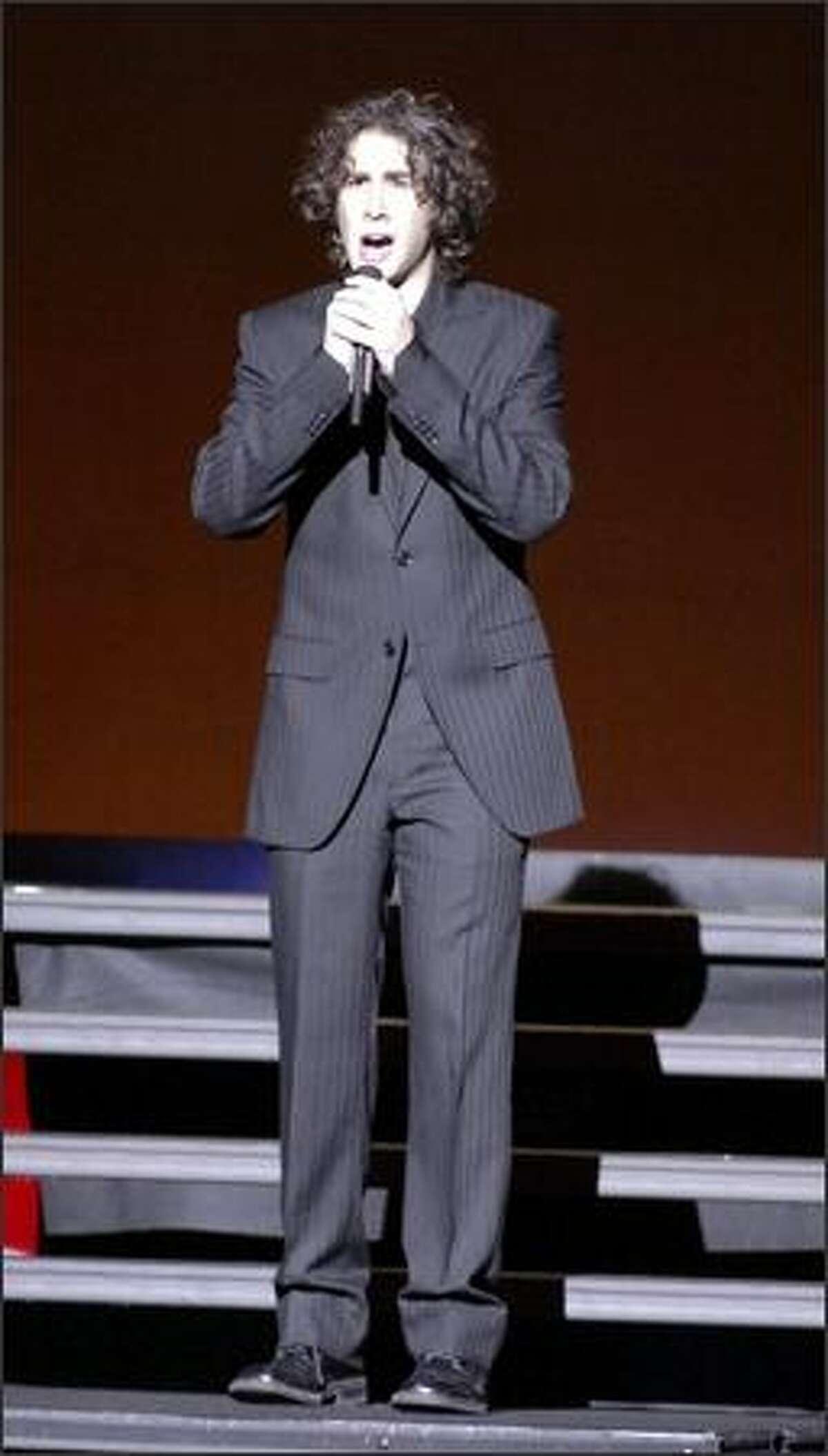 Pop singer Josh Groban sings at the Paramount Saturday night in Seattle.