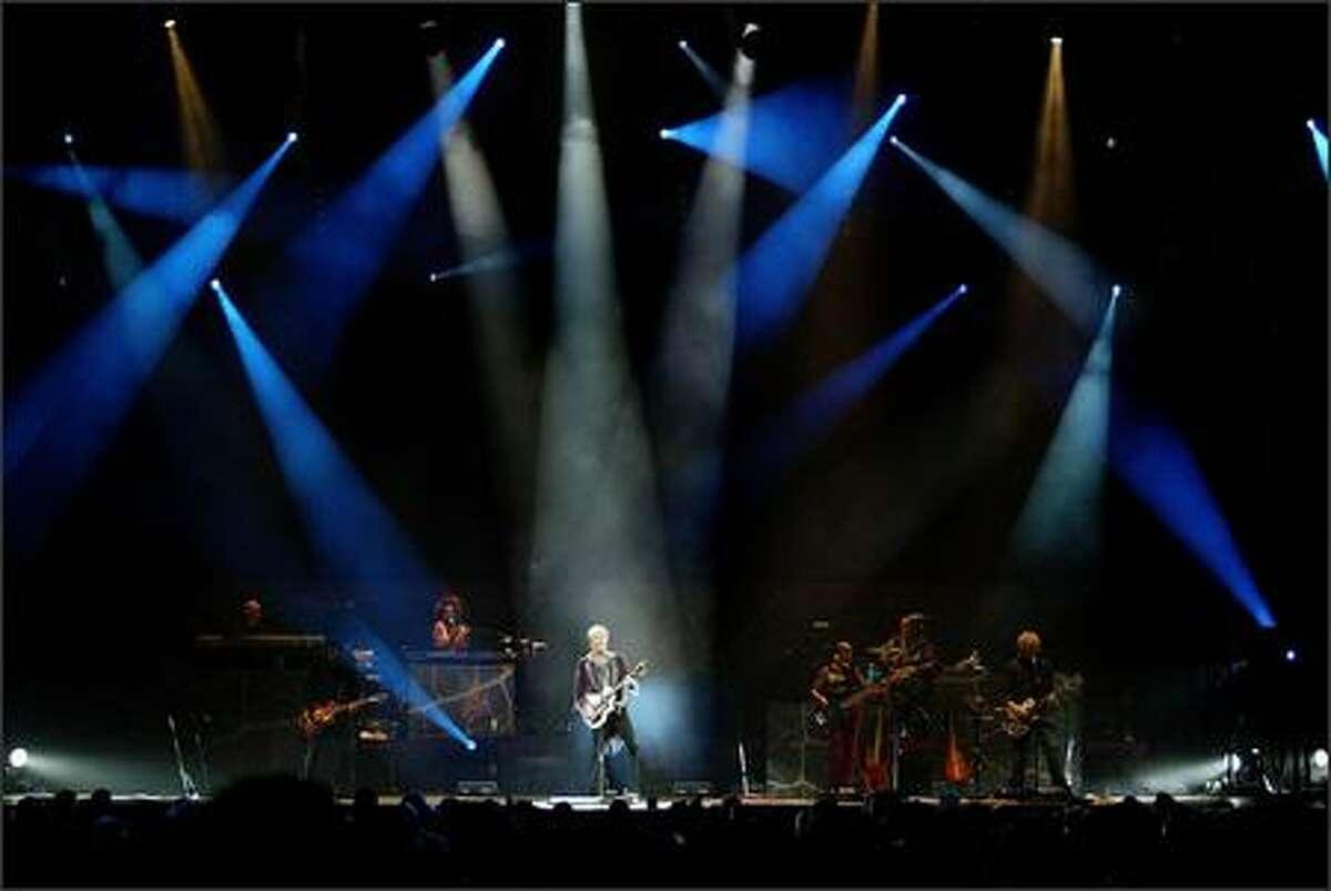 David Bowie performs at KeyArena on April 14, 2004