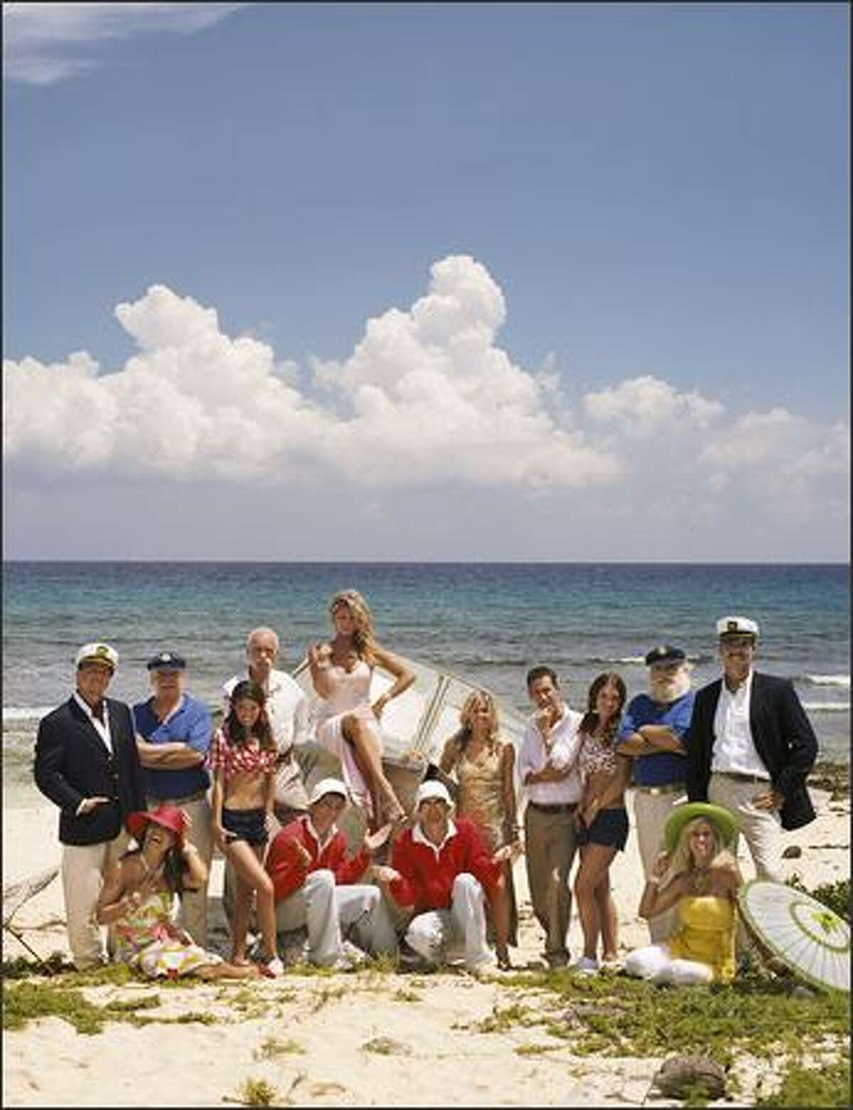 """""""The Real Gilligan's Island,"""" airing Tuesday and Wednesday nights on TBS, pits two """"mirror-image"""" groups of castaways against one another in challenges inspired by the TV sitcom. One team, designated Minnow Gold, poses on the left; rivals Minnow Green are on the right. Now, let's meet the cast ..."""