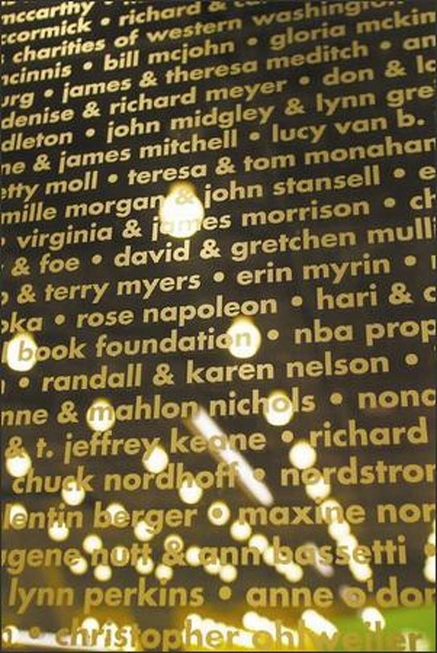 Patron names are inscribed on glass around the children's room.