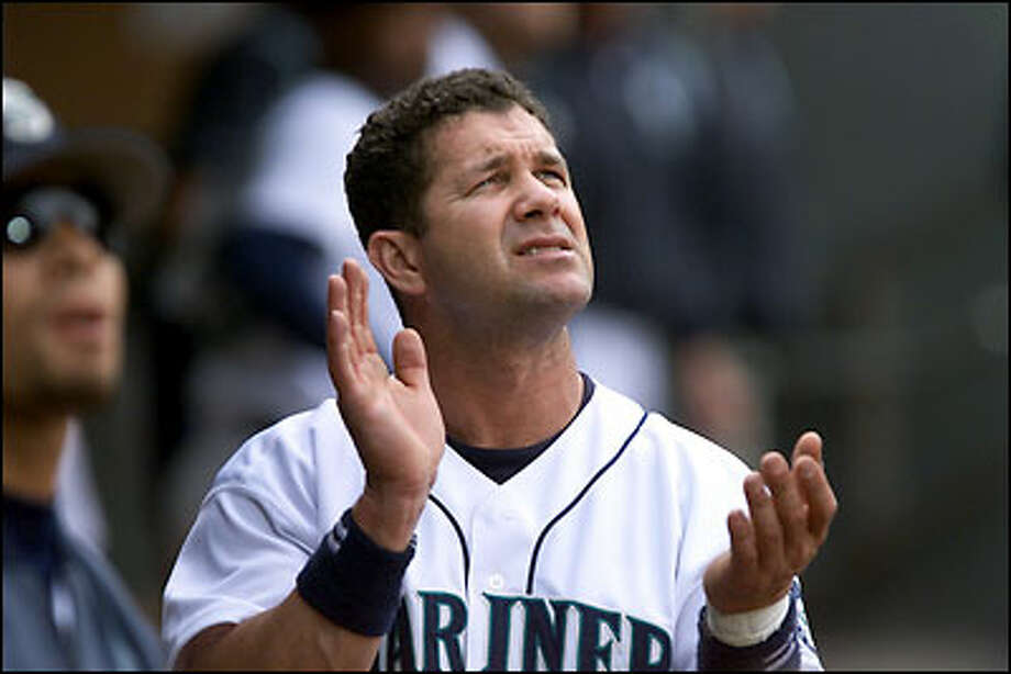Mariners designated hitter Edgar Martinez enjoyed his finest season at age 37, hitting .323 with 37 home runs and 145 RBIs. The latter figures are career highs. Photo: Grant M. Haller, Seattle Post-Intelligencer