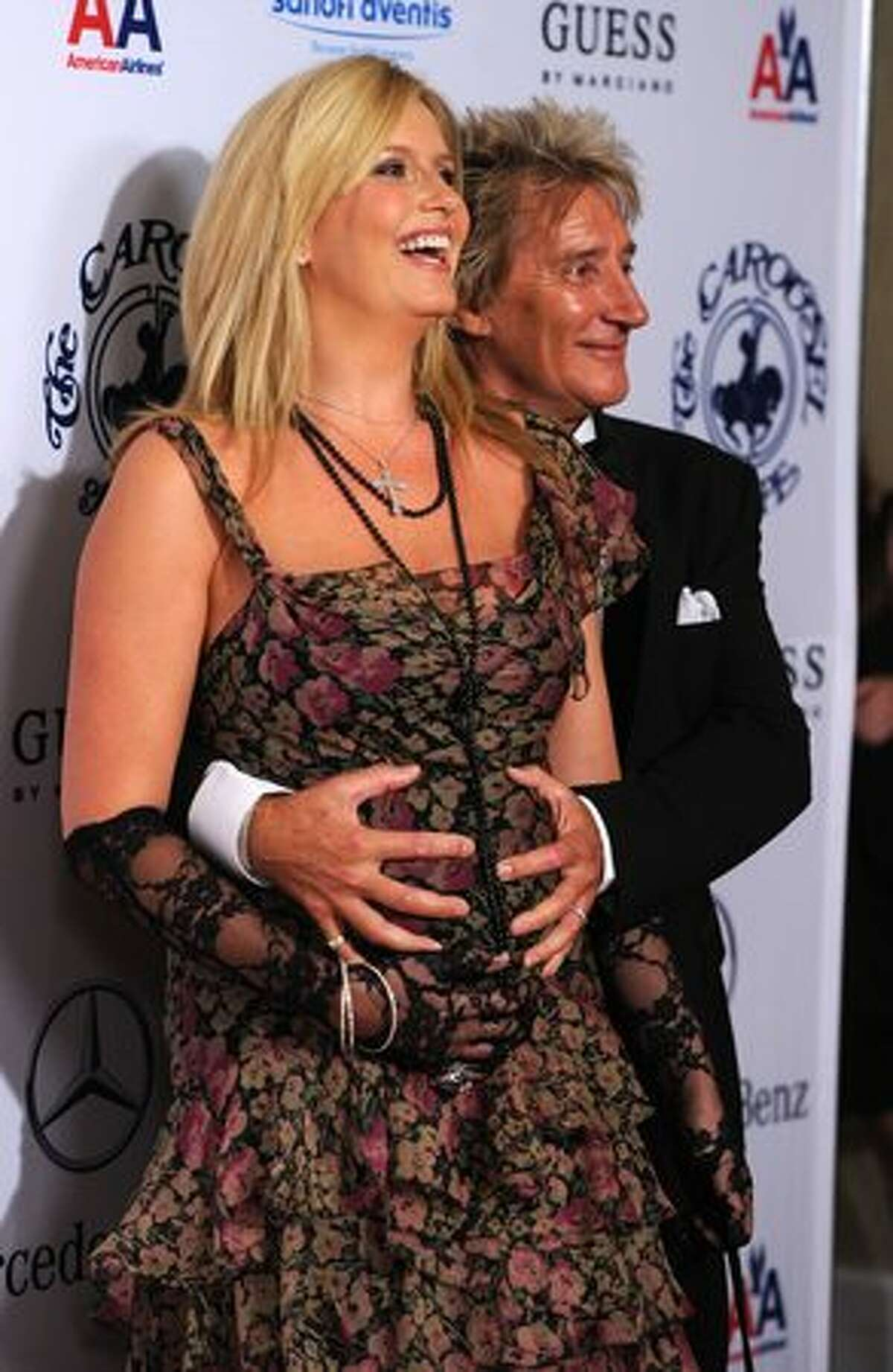 Singer Rod Stewart and wife Penny Lancaster arrive at the 32nd Anniversary Carousel Of Hope Gala at the Beverly Hilton Hotel in Beverly Hills, California.