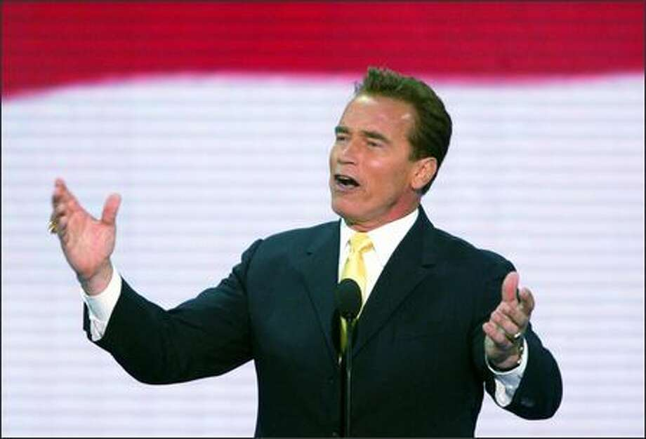 California Gov. Arnold Schwarzenegger addresses an enthusiastic audience yesterday at the Republican National Convention in New York. Photo: Karen Ducey, Seattle Post-Intelligencer
