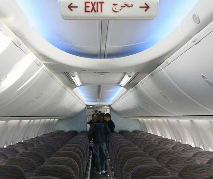The Boeing Sky Interior of flydubai's new 737-800 during its delivery ceremony at Boeing Field, in S
