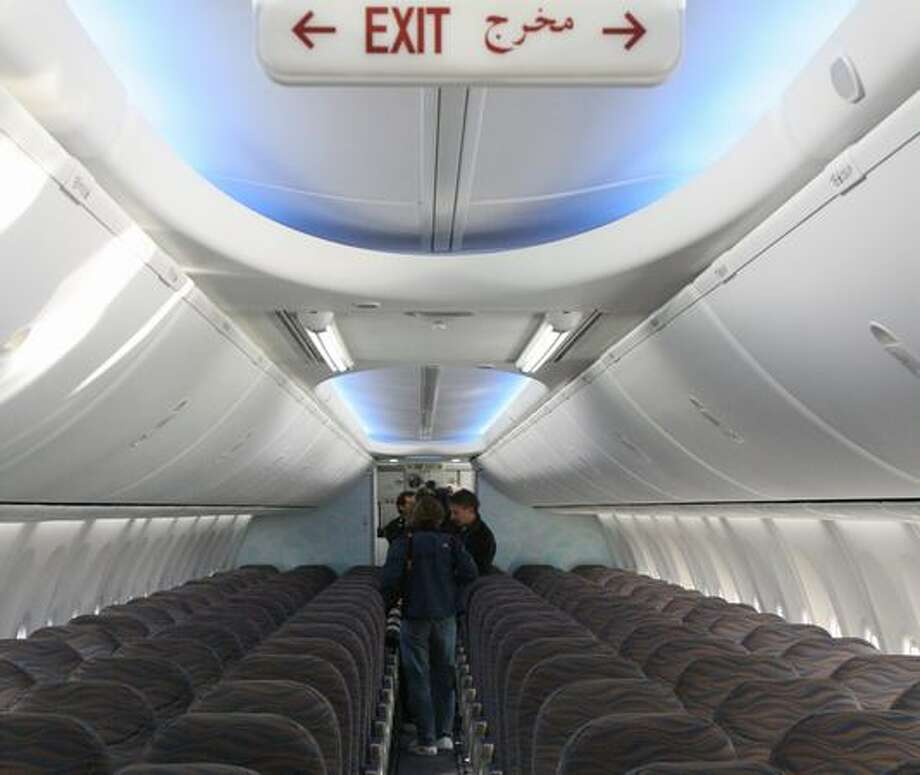 The Boeing Sky Interior of flydubai's new 737-800 during its delivery ceremony at Boeing Field, in Seattle. The interior features LED lights that can change color to simulate daylight, dusk and other states. Photo: Aubrey Cohen, Seattlepi.com