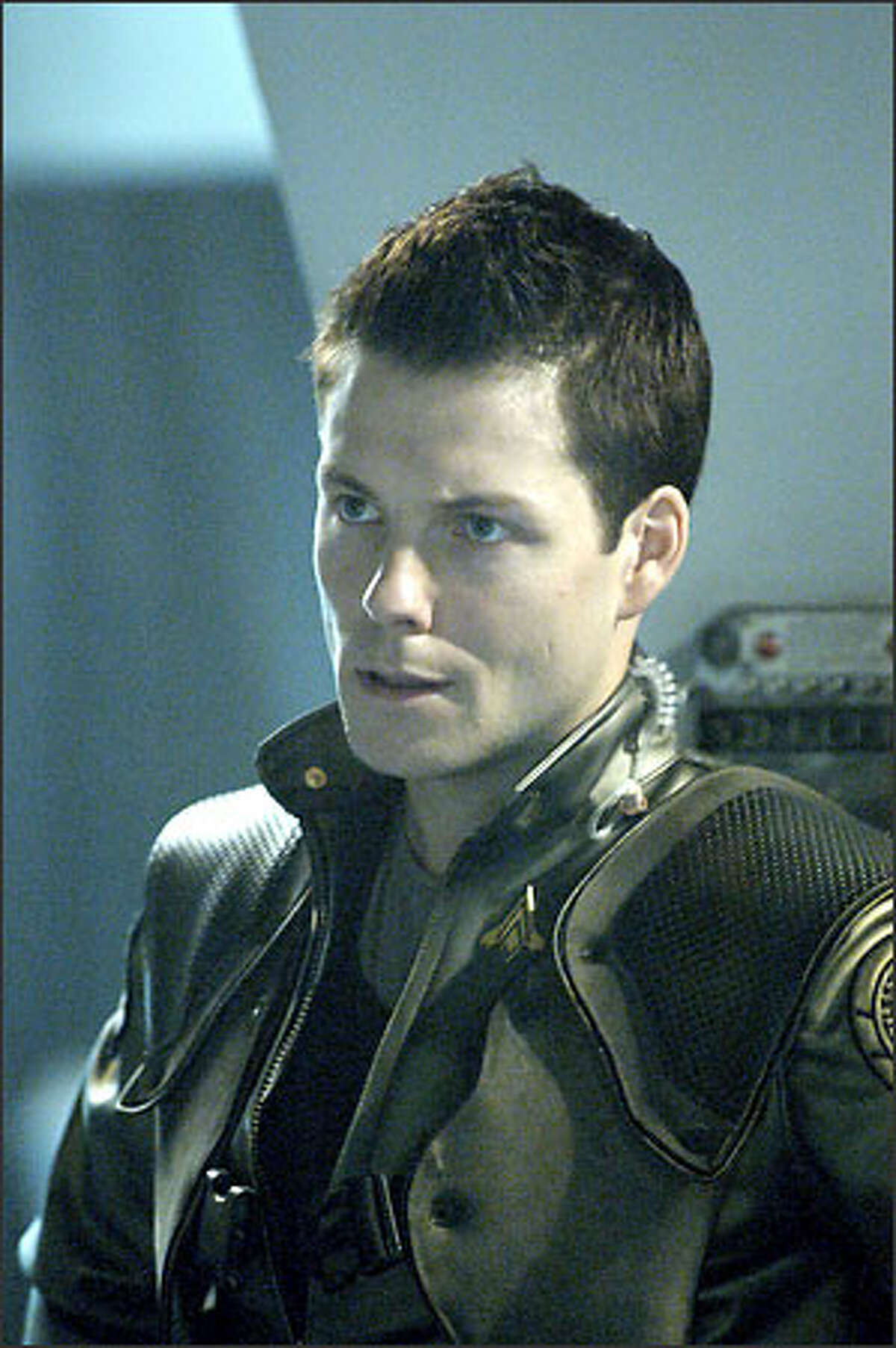 """Capt. Lee Adama (Jamie Bamber), callsign """"Apollo,"""" the son of Galactica's commander, is one of the fighter pilots aboard the battlestar. """"Battlestar Galactica"""" airs on the Sci-Fi Channel Dec. 8-9, 2003."""