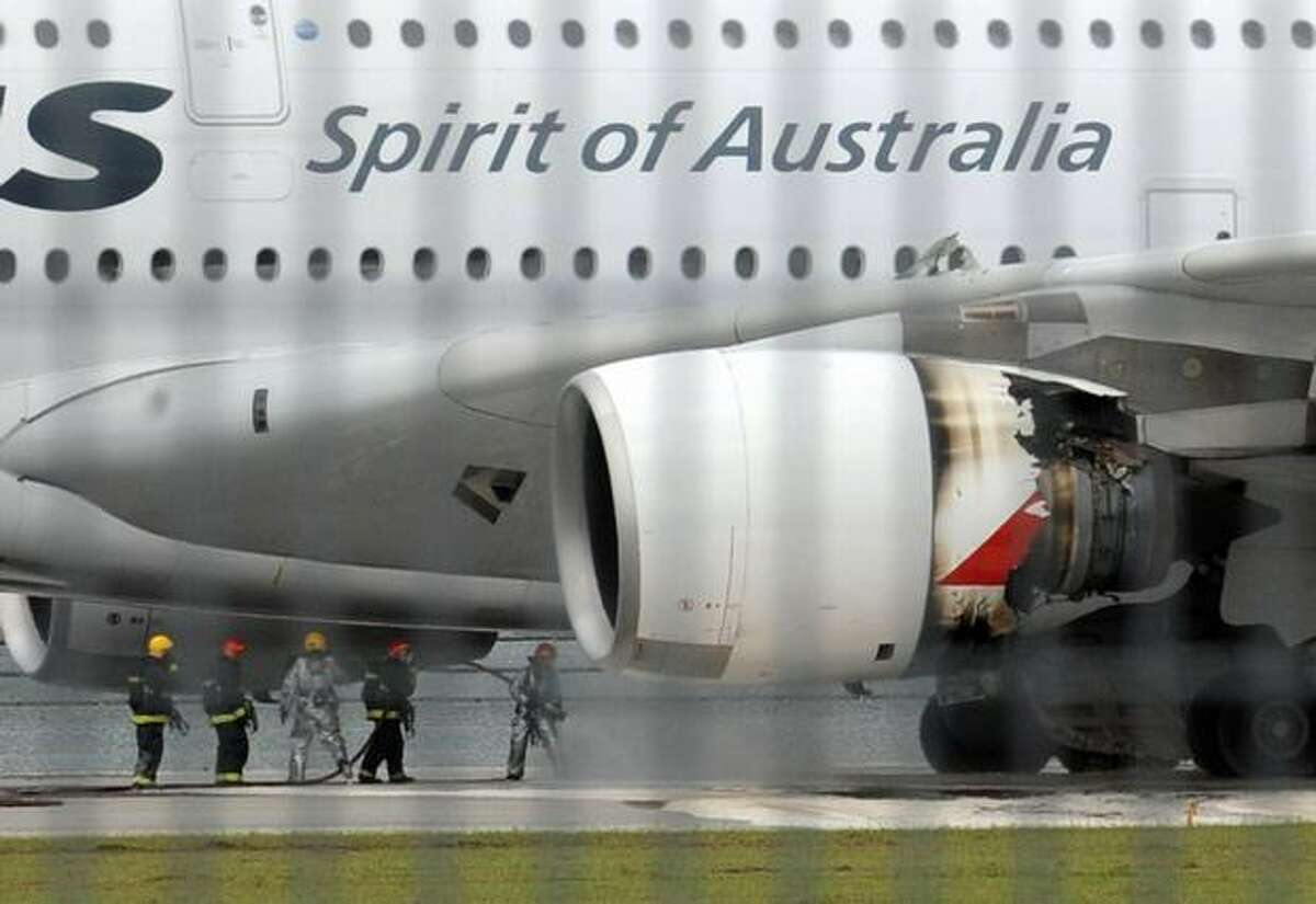 A troubled Qantas Airbus A380 plane seen after an emergency landing at the Changi International airport in Singapore.