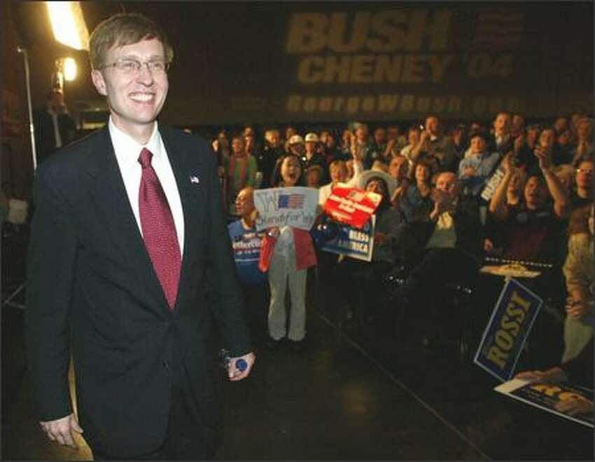 Rob McKenna, Republican candidate for Attorney General, meets the crowd at the Meydenbauer Center in Bellevue.