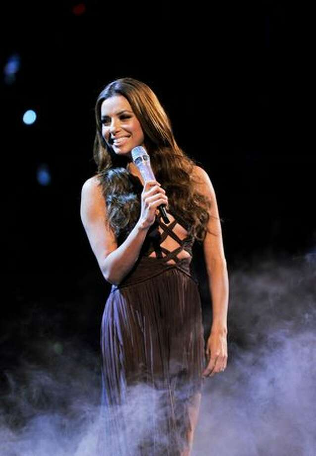 Host Eva Longoria Parker on stage during the MTV Europe Music Awards 2010 live show at La Caja Magica in Madrid, Spain, on Sunday, Nov. 7, 2010. Photo: Getty Images
