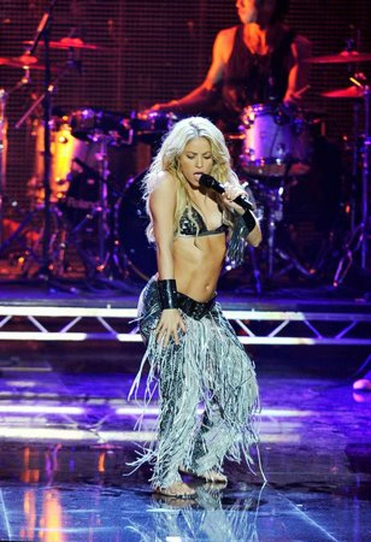 Shakira performs.