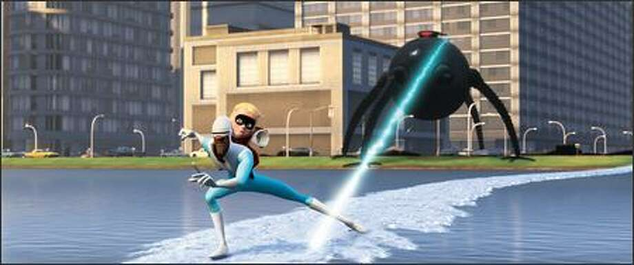 Frozone (voice of Samuel L. Jackson) and Dash (voice of Spencer Fox) evade the Omnidroid. Photo: Pixar Animation Studios