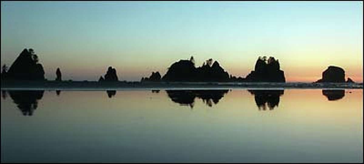 A beautiful sunset at Shi Shi Beach on the Olympic Coast.