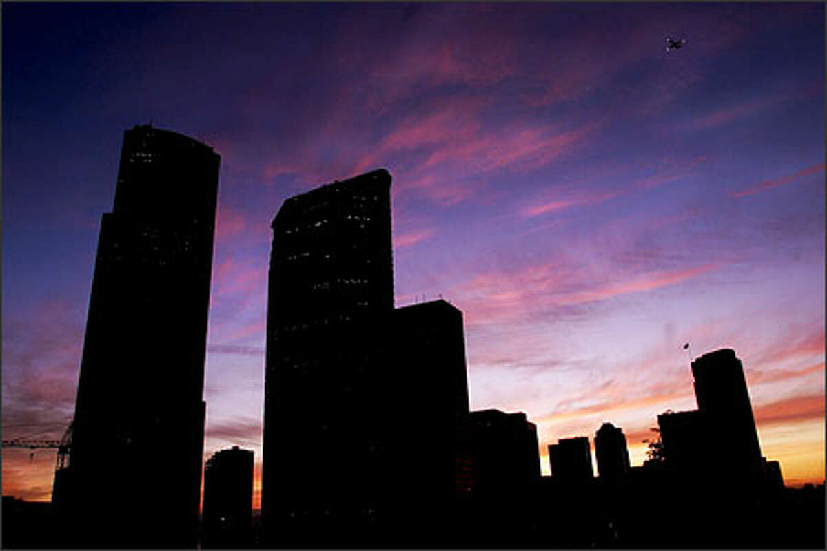 A beautiful sunset on the first day of summer in 2001 in downtown Seattle.