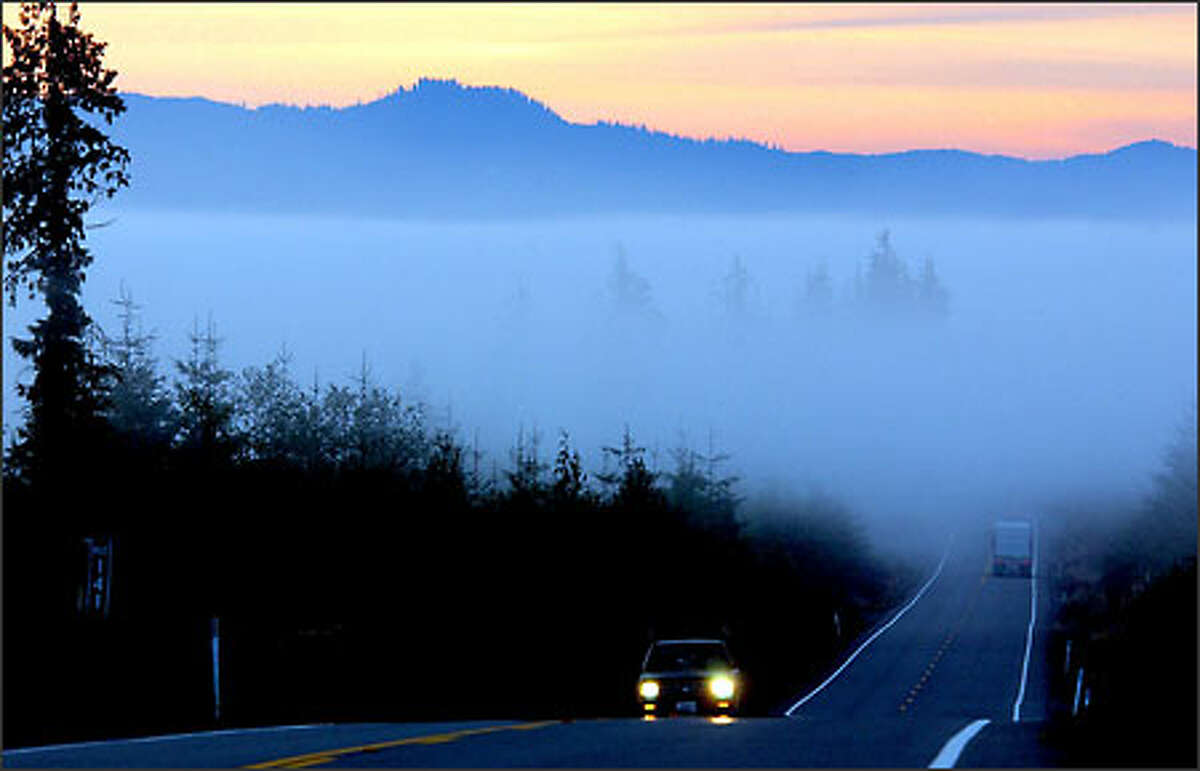 Early morning on U.S. Route 101 between Kalaloch and Lake Quinault. In the area is the Olympic Rain Forest, one of the few temperate rain forests in the world. The Wild Olympics bill, poised for House approval, would protect as wilderness forests in this area.