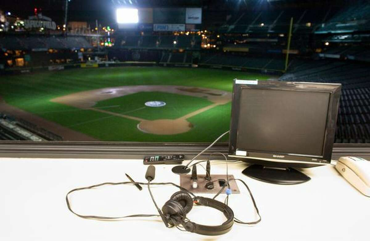 The headset of longtime Seattle Mariners broadcaster Dave Niehaus is shown in an empty broadcast booth at Safeco Field on Wednesday, November 10, 2010. The Mariners confirmed Wednesday that the 75 year-old voice of the Mariners has died.