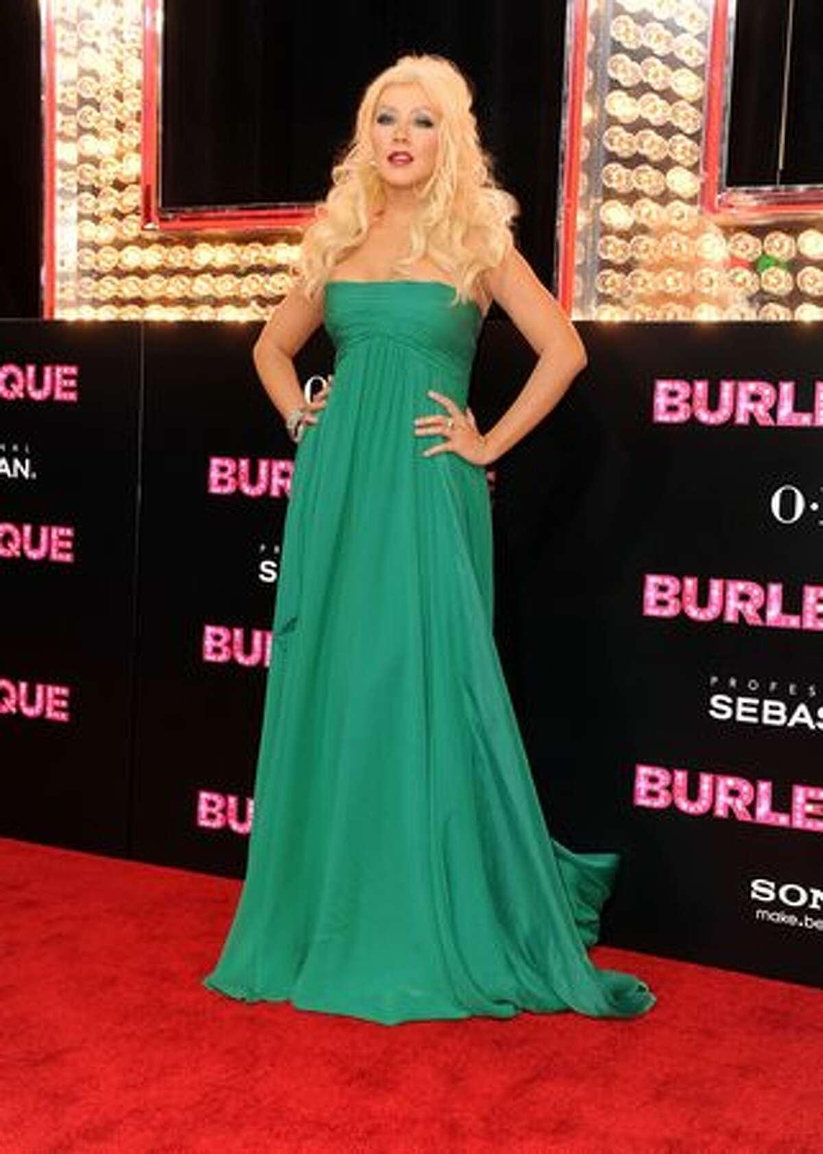 Actress Christina Aguilera arrives.