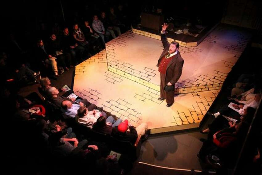 Stephen Grenley performs the role of Watson during the first preview showing of