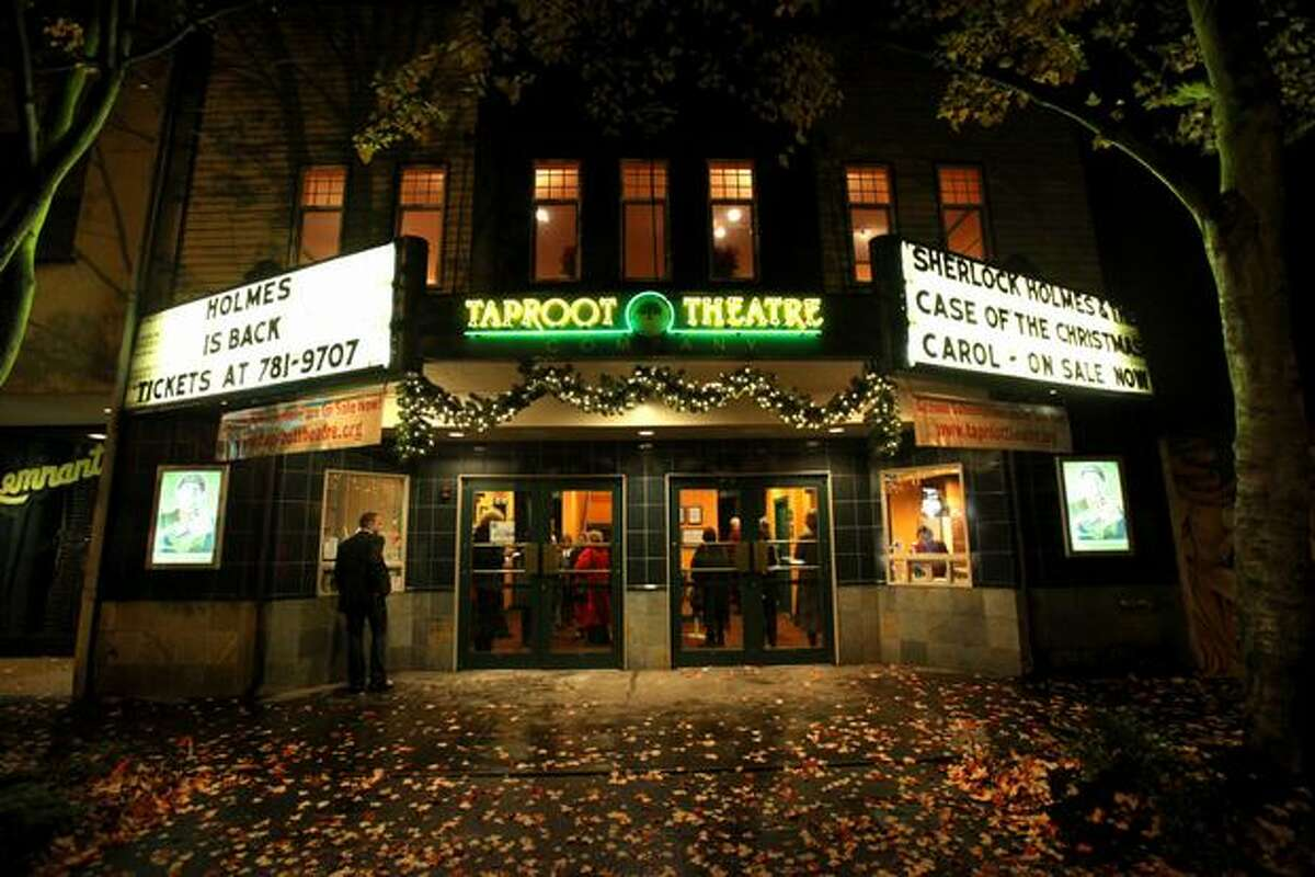 """The Taproot Theatre is shown during the first preview showing of """"Sherlock Holmes and the Case of the Christmas Carol"""" on Friday in Seattle's Greenwood neighborhood. The play was originally scheduled in 2009 but an arson fire forced the theater to cancel the show. In 2010 the Taproot is finally able to premiere the play."""