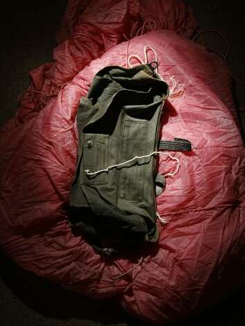 Hijacker D.B. Cooper requested parachute, harvested of some of its cord, then discarded on the plane. It's part of the evidence gathered at the FBI Seattle office. (seattlepi.com file/Andy Rogers) Photo: P-I File