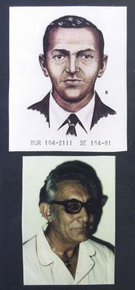 An FBI artist's rendition (top) shows D.B. Cooper as he looked in 1971 when he disappeared after par