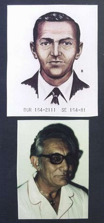An FBI artist's rendition (top) shows D.B. Cooper as he looked in 1971 when he disappeared after parachuting from a skyjacked jetliner with $200,000 in ransom money. Jo Weber of Pace, Fla., claimed that her late husband, Duane Weber, shown in a photo taken about 1977 (bottom) was Cooper. FBI case agent Larry Carr has said Weber was not Cooper, despite Weber's deathbed confession. (The Associated Press/provided by seattlepi.com archive) Photo: P-I File