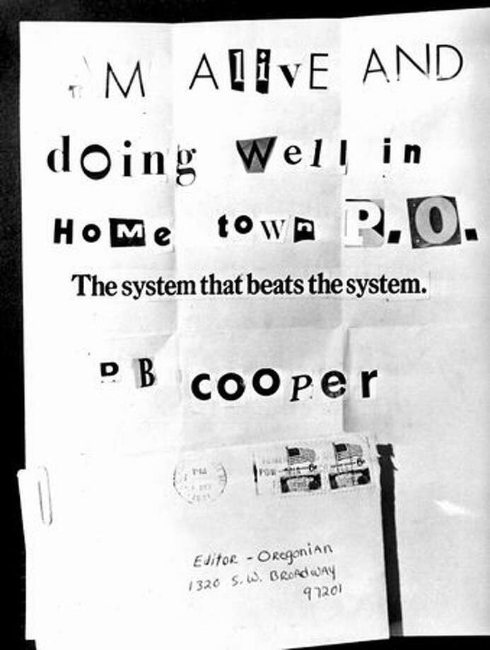 Dec. 2, 1971: A letter received by The Oregonian bore the name of D.B. Cooper, the highjacker who parachuted with $200,000 from a hijacked Northwest Airlines jet airliner the previous November. Photo: P-I File