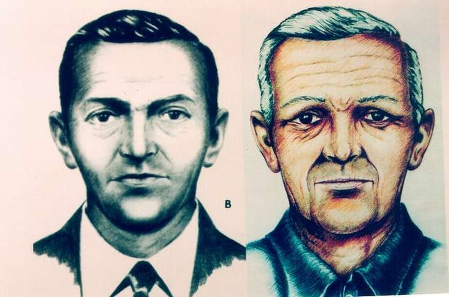 D B Cooper then, and what an artist thinks he would like aged. (FBI photo/provided by seattlepi.com file) Photo: P-I File