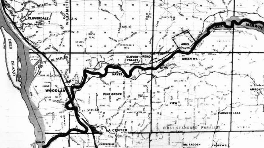 A map used in 1972 during the search for D.B. Cooper.  (The Associated Press/provided by seattlepi.com file) Photo: P-I File