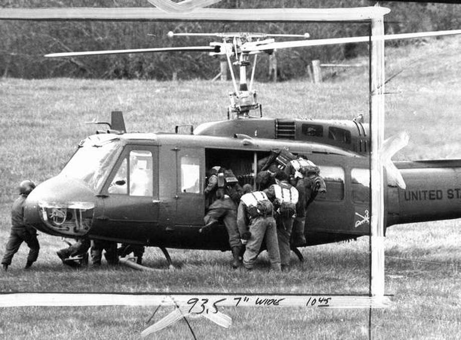 An army unit helped in the search for D.B. Cooper, March 1972. (seattlepi.com file/Bob Miller) Photo: P-I File