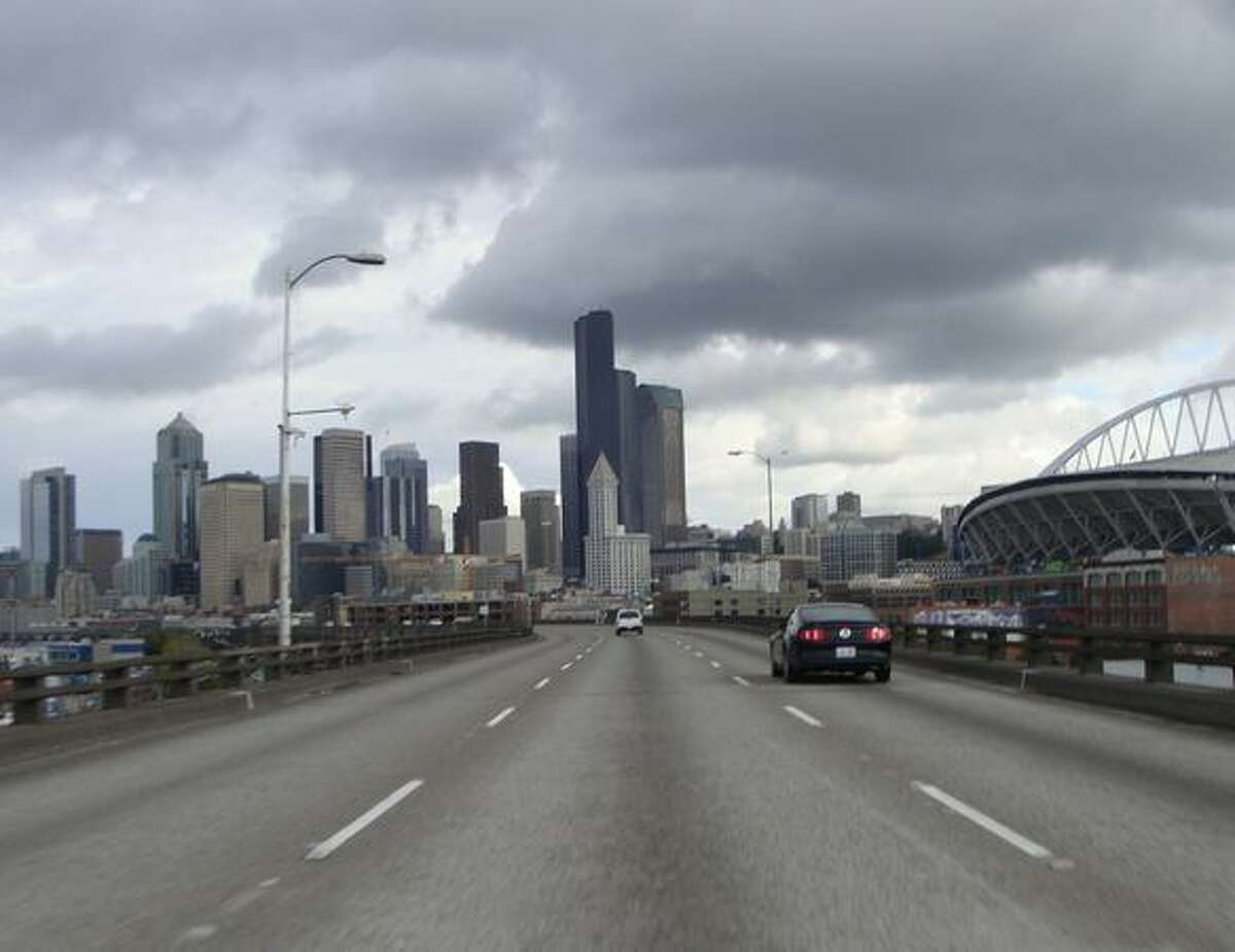 Now: View to the north from the viaduct at South Royal Brougham Way. (Photo provided by WSDOT)