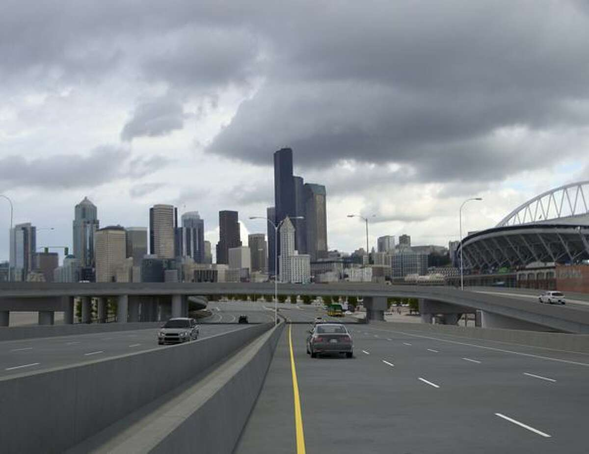 Future: View to the north from new Highway 99 at South Royal Brougham Way. (Photo provided by WSDOT)
