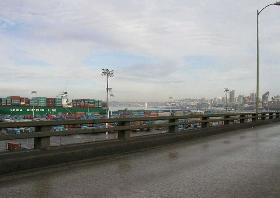 Now: View to the northwest from the viaduct at South Charles Street. (Photo provided by WSDOT)