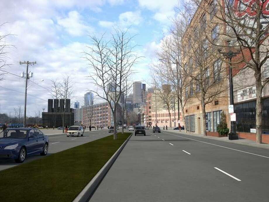Future: View to the north on First Avenue S. south of Railroad Way South. (Photo provided by WSDOT)