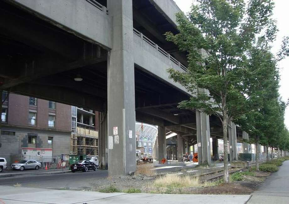 Now: View to the southeast down Railroad Way South from Alaskan Way. (Photo provided by WSDOT)